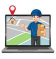deliver or courier man in blue uniform cartoon vector image