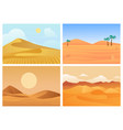 desert landscape hot sunrise and sunset palm vector image vector image