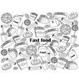 Fast food colorless set vector image vector image