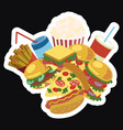 frame with fast food stylized street food vector image