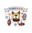 funny dog and merry chrismas text in ribbon card vector image vector image