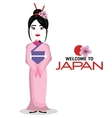 girl japanese kimono welcome japan icon vector image vector image