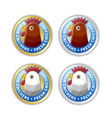 golden and silver badges with chicken head and vector image vector image