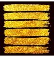 Golden glitter brushstrokes set isolated at black vector image vector image
