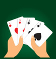 hand holding playing cards vector image