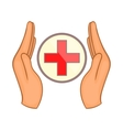 Hands holding cross icon cartoon style vector image vector image
