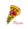 icon pizza for italian pizzeria fast food vector image vector image