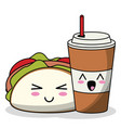 kawaii taco with soda cup image vector image