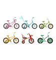 kids bicycles collection childrens bikes vector image vector image