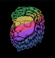 lion head smoke colorful vector image vector image