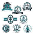 marine and nautical heraldic icons set vector image