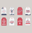 merry christmas and new year gift tags collection vector image