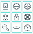 network icons set with plus open lock eyes and vector image vector image