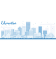 Outline Edmonton Skyline with Blue Buildings vector image vector image