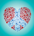 peace sign heart vector image vector image