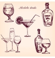 set alcohol drinks vector image vector image