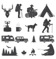 set camping icons isolated on white vector image vector image