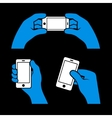 Set of Hands Holding Smart Phone vector image vector image