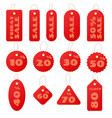 set of red round and square sale price tags and vector image vector image
