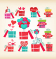 set of valentine gift love with heart vector image vector image