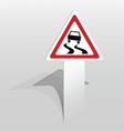Slippery road sign vector image