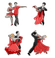 stylized dancing pairs vector image