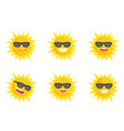 sun wearing eyes glasses collection icon vector image vector image