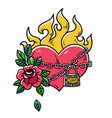 tattoo flaming heart bound by chains of love vector image vector image