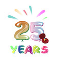 twenty five years greeting card vector image vector image