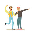 two young men characters fighting and quarelling vector image vector image