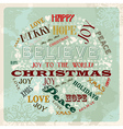 Vintage merry christmas concept circle vector image
