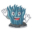 waving blue seaweed isolated in the character vector image vector image