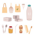 zero waste elements organic set in a flat style vector image vector image