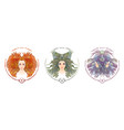 zodiac sign portrait a woman aries taurus vector image vector image