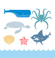 Underwater World Set flat icons Animals Ocean vector image