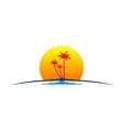 palm tree sunset tropic travel logo vector image