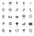 Plublic icons with reflect on white background vector image