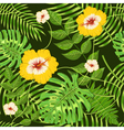 Seamless pattern with exotic tropical leaves vector image