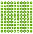 100 energy icons hexagon green vector image vector image