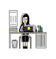 asian secretary working at laptop in office vector image vector image