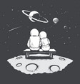 astronaut girl and boy sits on bench vector image vector image