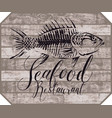 banner for seafood restaurant with picture of fish vector image vector image