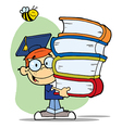 Bee Over A Graduation Boy With Books vector image vector image
