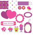 Birthday scrapbook set vector image