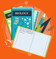 Books and school process Writing Drawing in vector image vector image