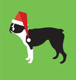 Boston Terrier Wearing A Santa Claus Hat vector image