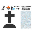 cemetery cross icon with 1300 medical business vector image