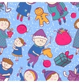 Childish christmas seamless pattern vector image