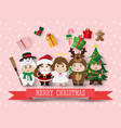 christmas cute kids vector image vector image