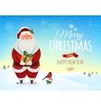 christmas greeting card poster funny santa vector image vector image